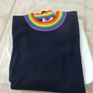 Burberry Dales Rainbow-trim Blue Sweater Sz. XS